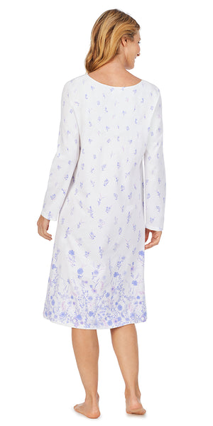 White Floral Border Soft Jersey Long Sleeve Waltz Gown