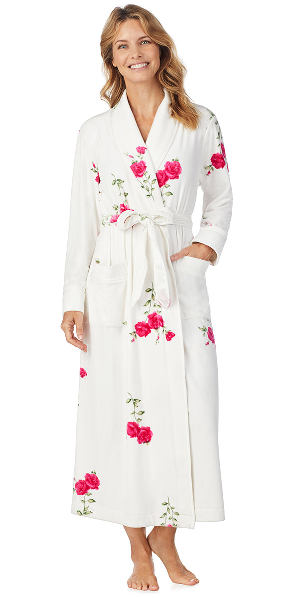 Roses Plush Luxe Velour Long Wrap Robe