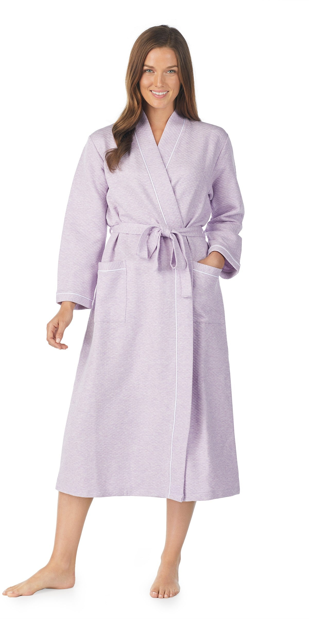 HEATHER PURPLE DIAMOND QUILT LONG WRAP ROBE