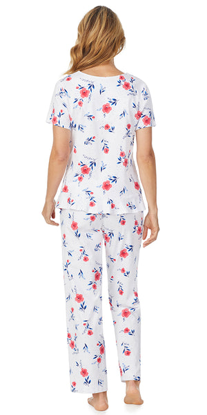 Red Floral Luxe Jersey Short Sleeve Long PJ