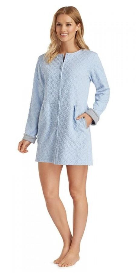 Diamond Quilt Short Zip Robe - Blue Heather