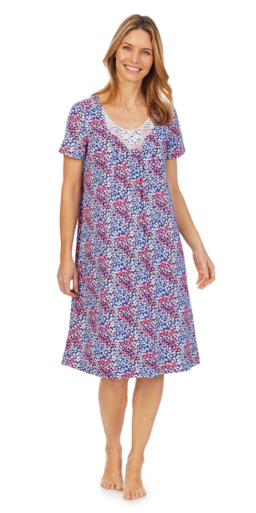 Navy Spring Floral Soft Jersey Knits Waltz S/S Nightgown