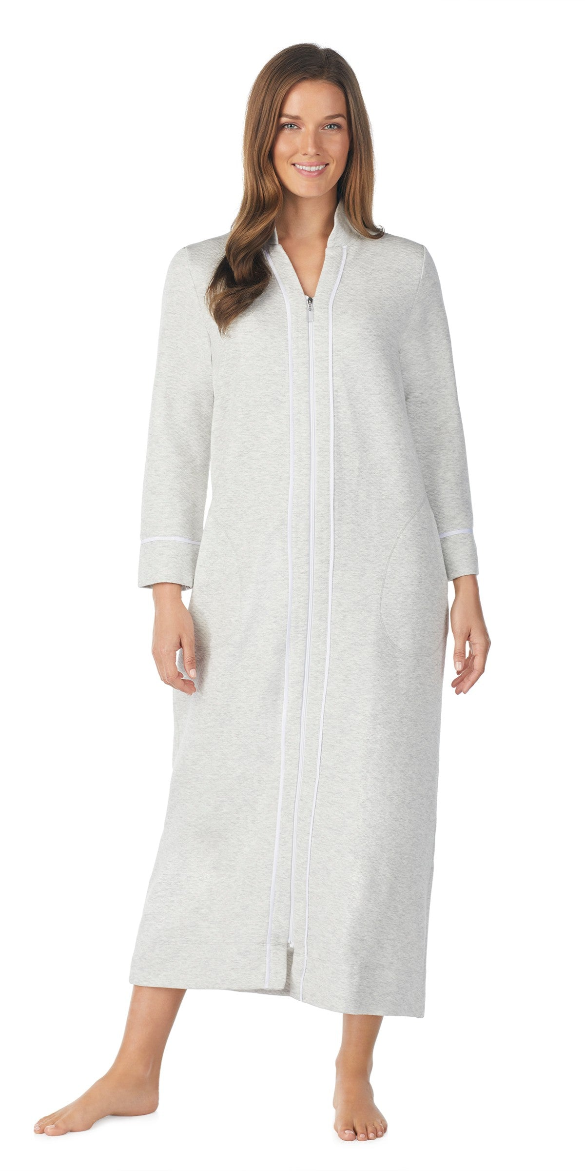 HEATHER GREY DIAMOND QUILT LONG ZIP ROBE