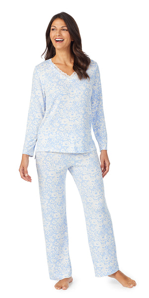 Blue Floral Dreamy Sweater Knit Long Sleeve & Long Pant PJ