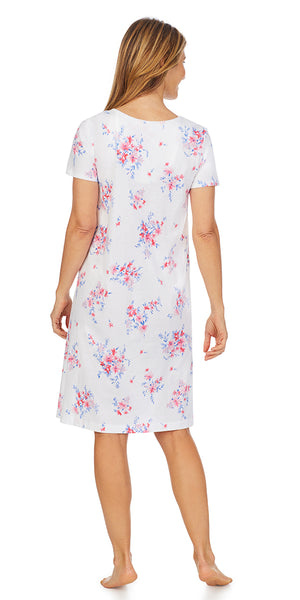 Pink & Blue Floral Soft Jersey Knits Waltz S/S Nightgown