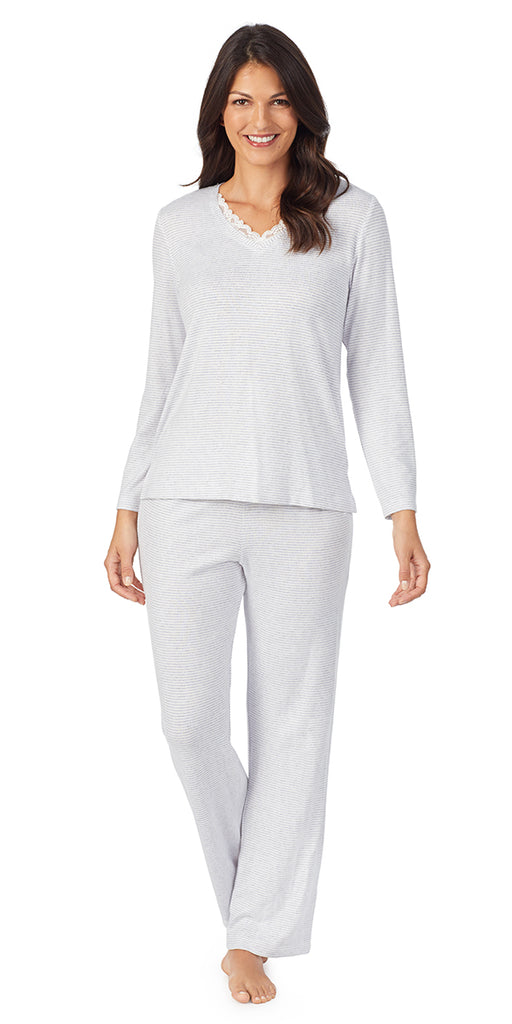 Heather Grey Stripe Dreamy Sweater Knit Long Sleeve & Long Pant PJ