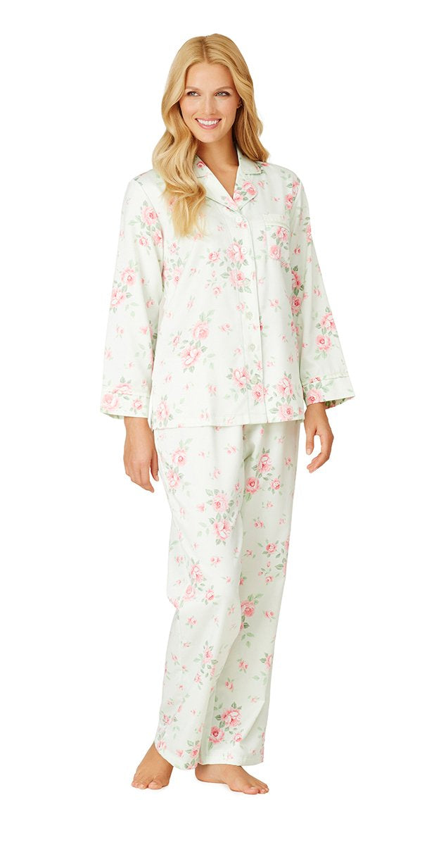 Plus Size Brush Back Satin Long Pajama - Cascading Floral Celadon