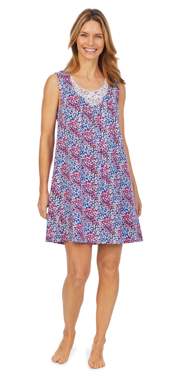 Navy Spring Floral Soft Jersey Knits Short Gown