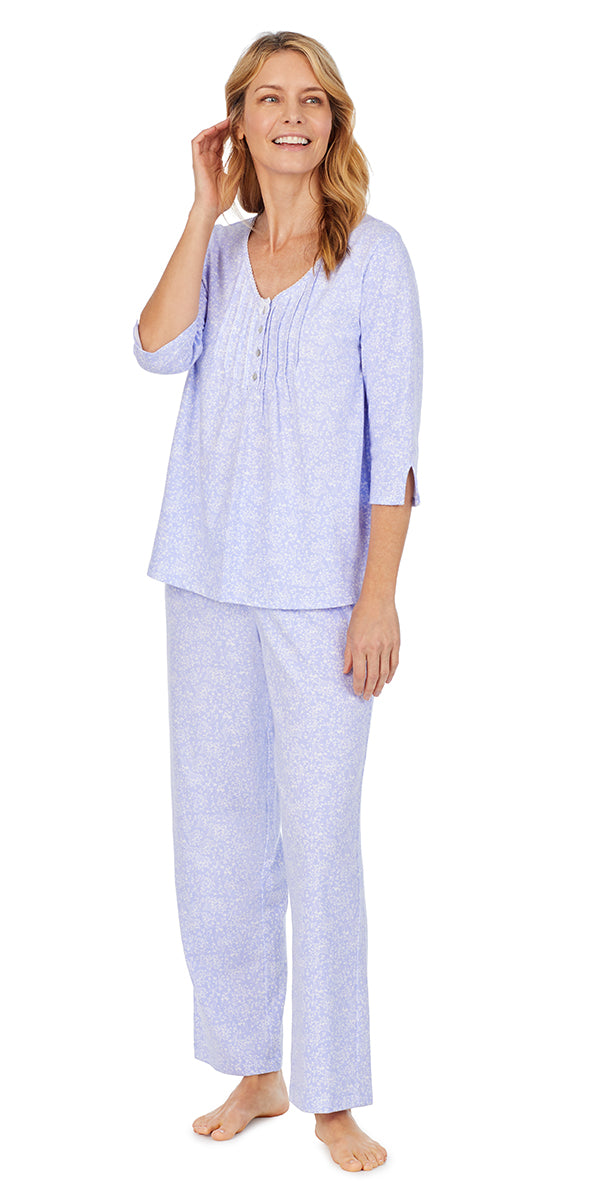 Lilac Ditsy Soft Jersey 3/4 Sleeve. Long PJ Set