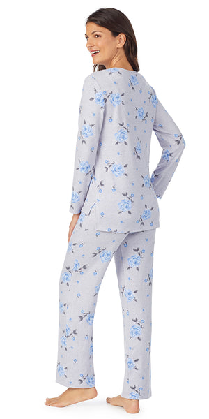 Heather Grey Floral Dreamy Sweater Knit Long Sleeve & Long Pant PJ