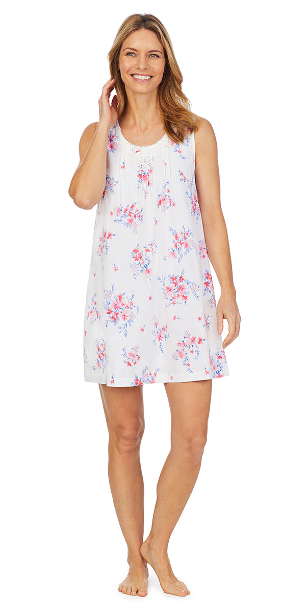 Pink & Blue Floral Soft Jersey Knits Short Gown