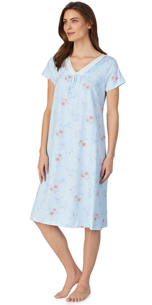 Aqua Etched Floral Soft Jersey Knits Gown