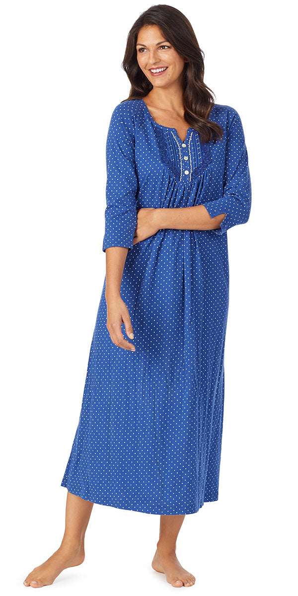 Navy Dot Soft Jersey Long Sleeve Long Gown