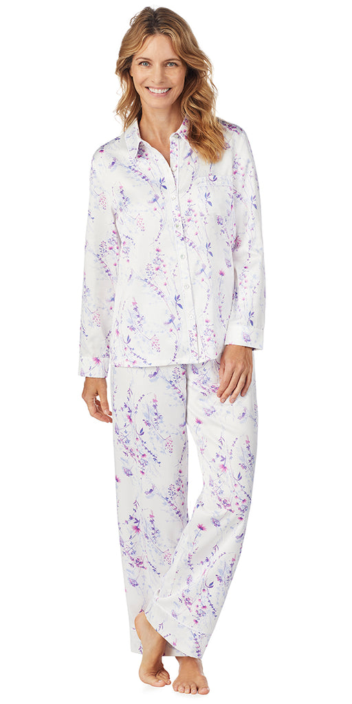 Watercolor Floral Brushed Back Satin Long PJ