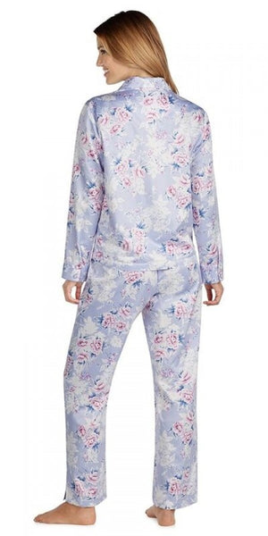Brushed Back Satin Long Pj - Periwinkle Jubilee