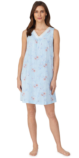 Aqua Etched Floral Soft Jersey Knits Short Gown