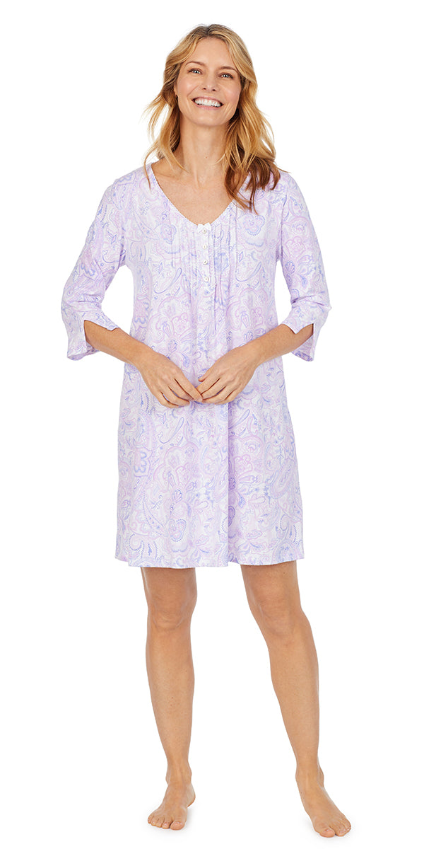 Purple Paisley Soft Jersey Short Sleeve Sleepshirt