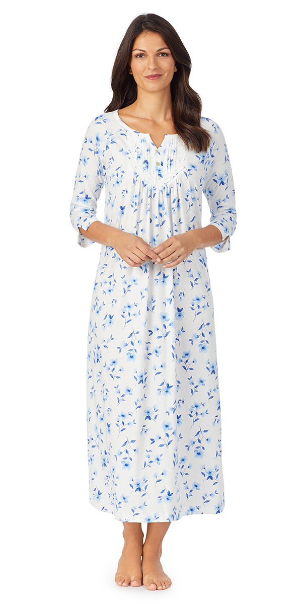 White & Blue Floral Soft Jersey Long Sleeve Long Gown