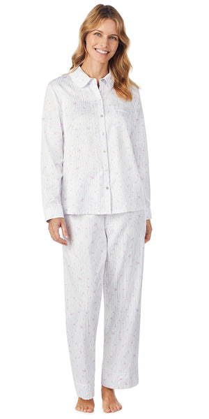 Stripe Ditsy Floral Brushed Back Satin Long PJ