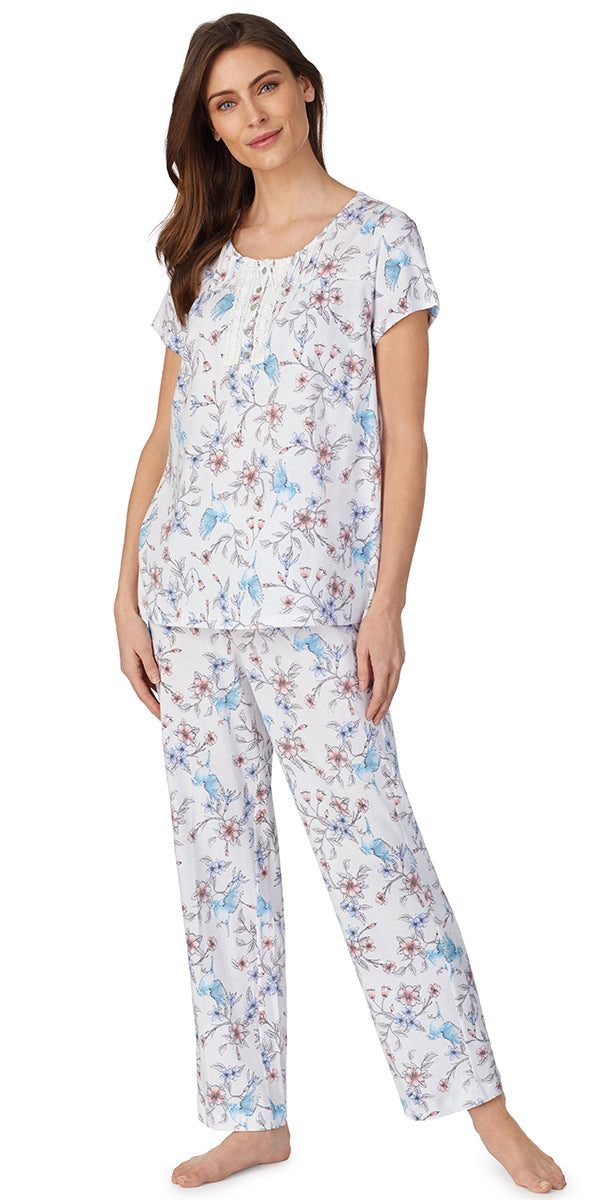 Hummingbird Floral Soft Jersey Knits Long Pj