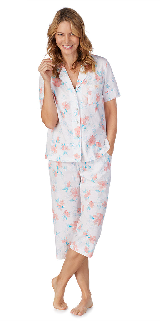 Color Watercolor Floral Soft Jersey Capri PJ