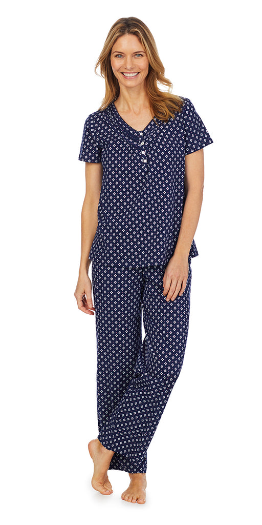 Navy Classic Geo Soft Jersey Knits S/S Long Pj