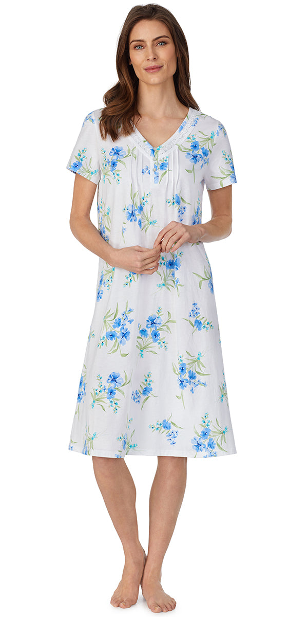 White Ground Blue Floral Soft Jersey Knits Gown