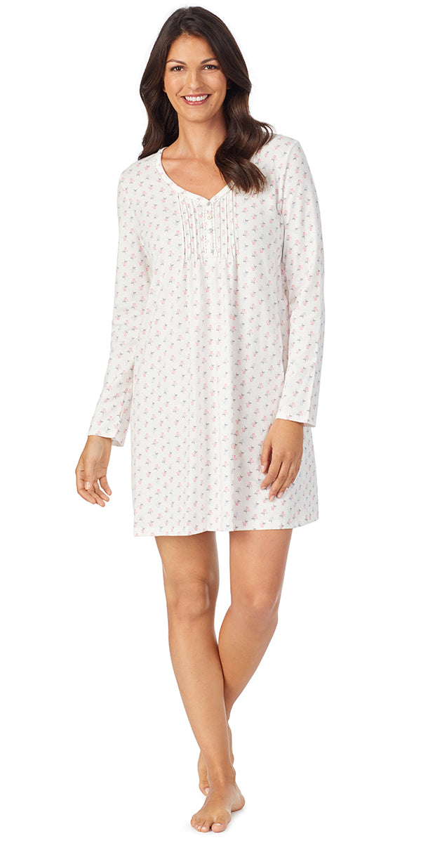 White Ground Multi Soft Jersey Long Sleeve Sleepshirt