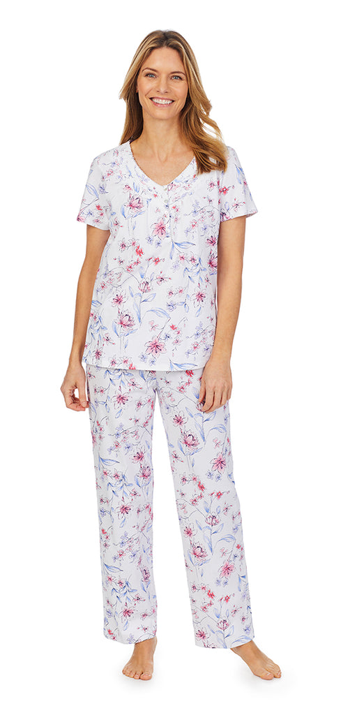 Sketched Floral Soft Jersey S/S Long PJ