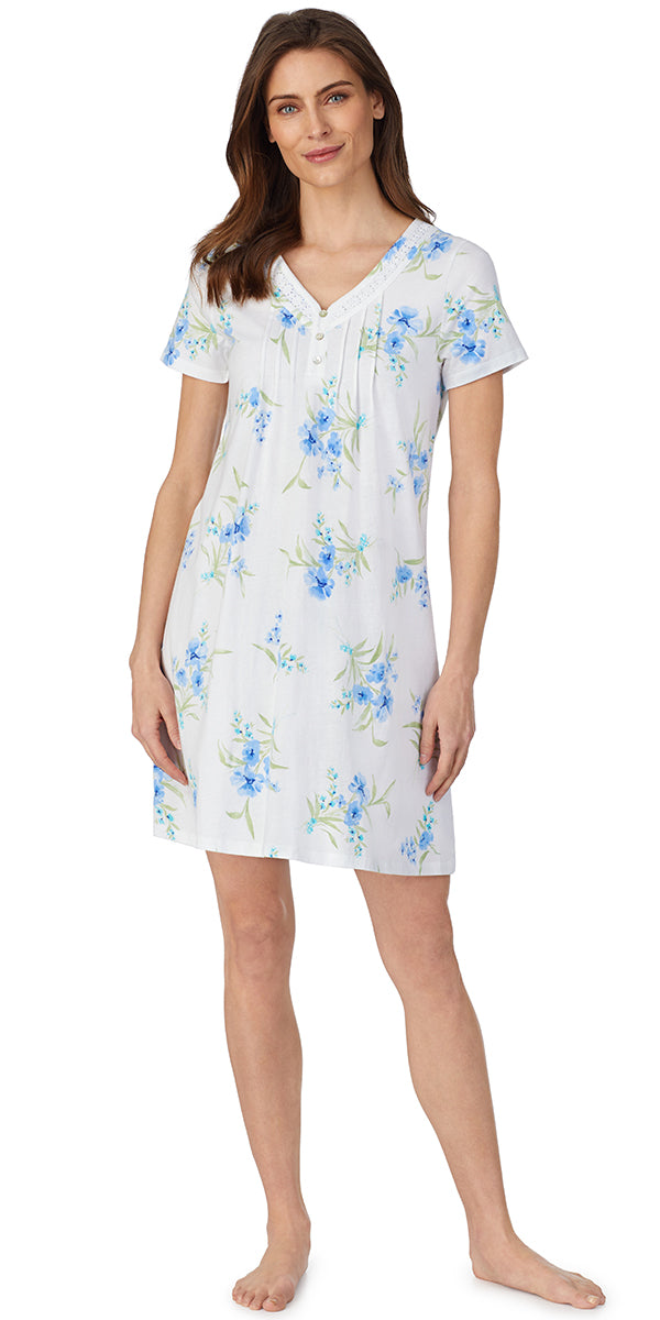 White Grd Blue Floral Soft Jersey Knits Short Gown