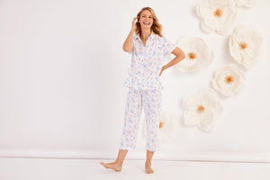 White Multi Floral Soft Jersey Short Sleeve and Capri Pant PJ Set