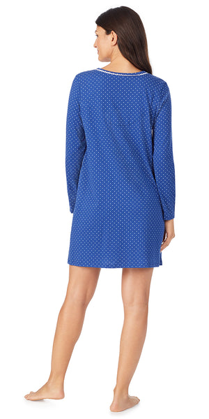 Navy Dot Soft Jersey Long Sleeve Sleepshirt
