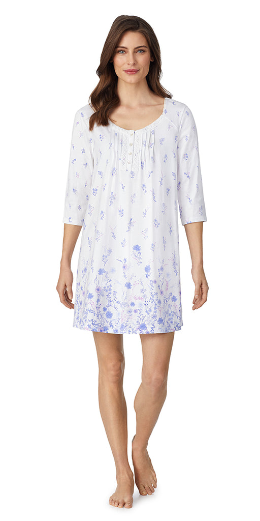 White Floral Border Soft Jersey 3/4 Sleeve Short Nightgown