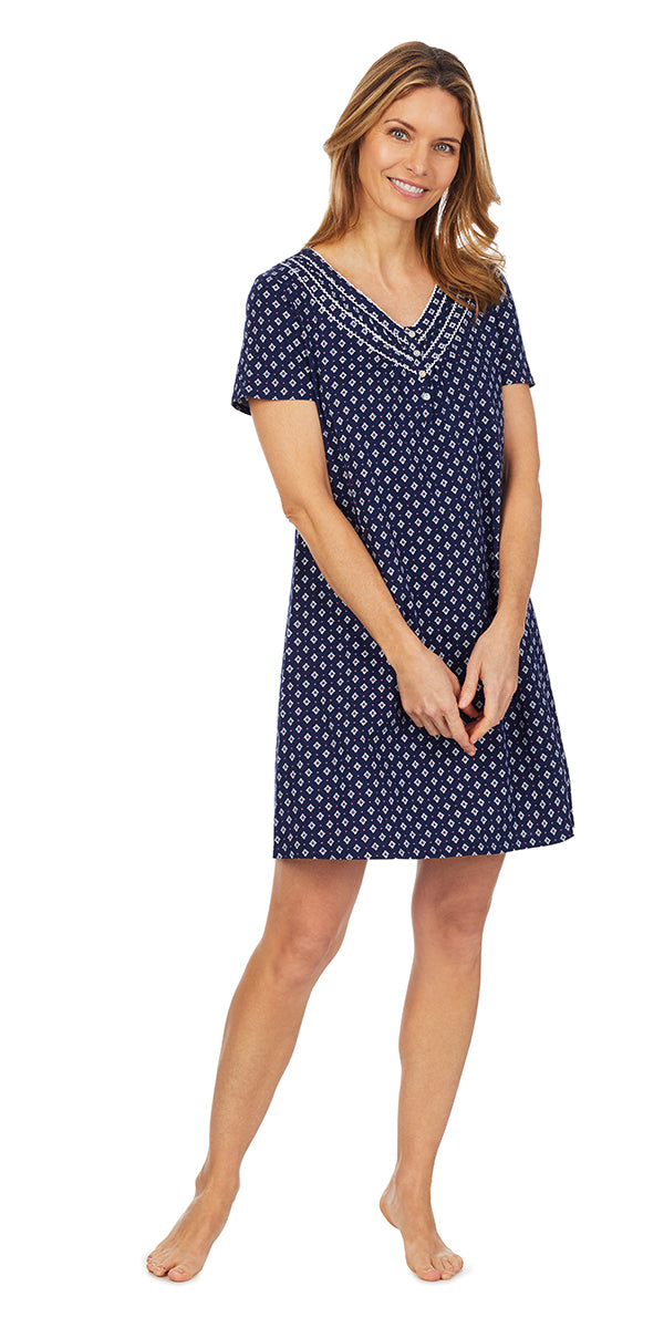 Navy Classic Geo Soft Jersey Knits Short Nightshirt