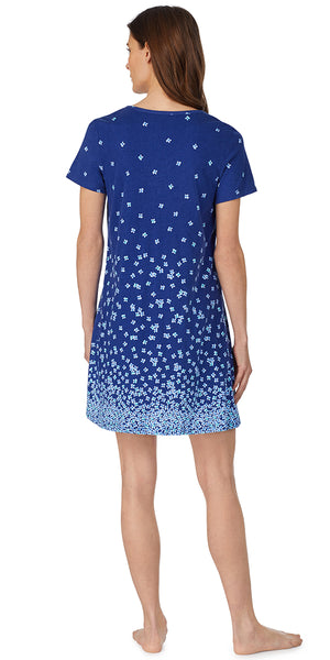 Navy Ground Falling Daisy Border Print Soft Jersey Knits Short Gown