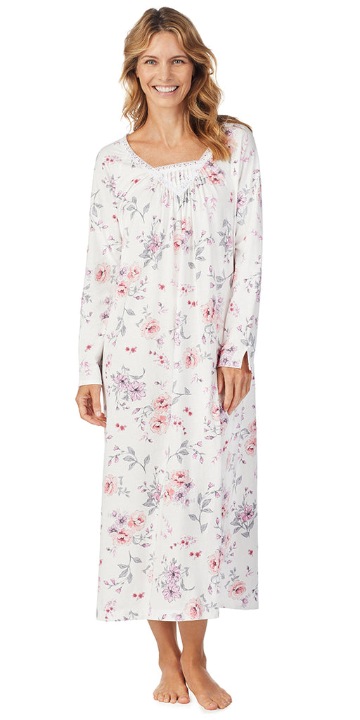 Multi Rose Floral Soft Jersey Long Gown Plus Size