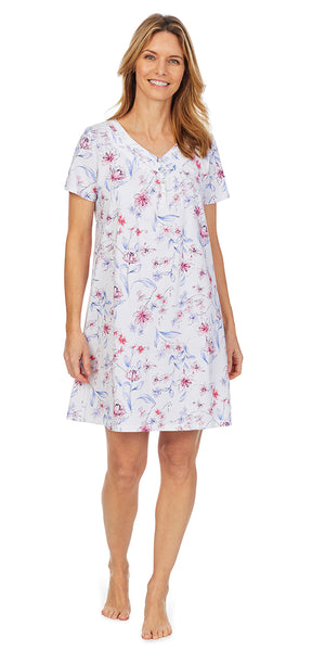 Sketched Floral Soft Jersey Short Nightshirt