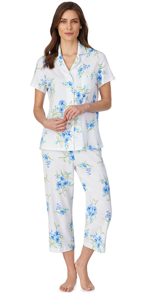 White Ground Blue Floral Soft Jersey Knits Capri Pj