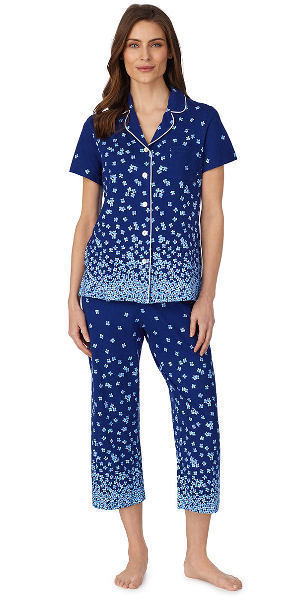 Navy Ground Falling Daisy Border Print Soft Jersey Knits Capri Pj