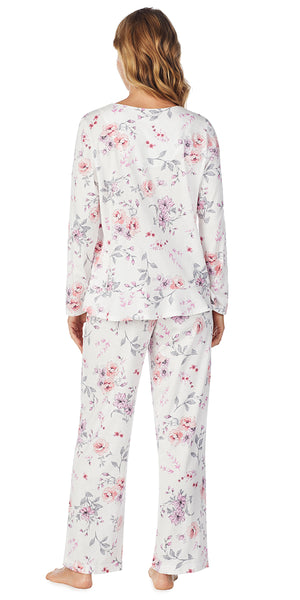Multi Rose Floral Soft Jersey Long PJ