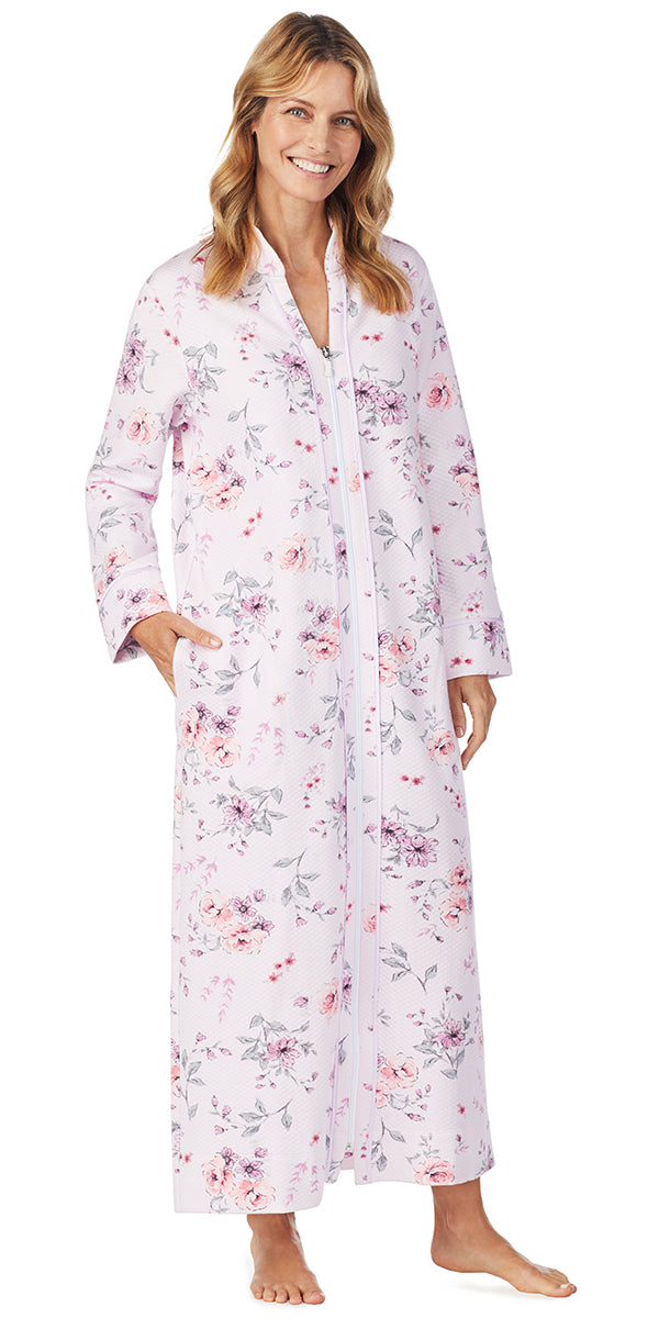 Pink Multi Rose Floral Diamond Quilt Long Zip Front Robe