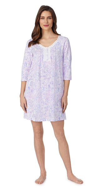 Purple Paisley Soft Jersey 3/4 Sleeve Short Nightgown