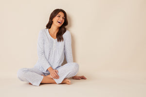 Pale Blue Ditsy Soft Jersey Long Sleeve & Long Pant Pj