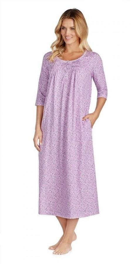 3/4 Sleeve Gown - Mixed Berry Floral Purple