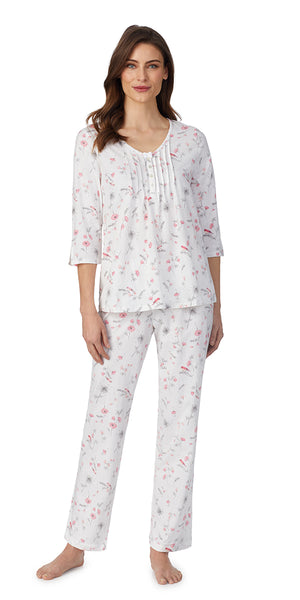 White Floral Soft Jersey Short Sleeve Long PJ Set