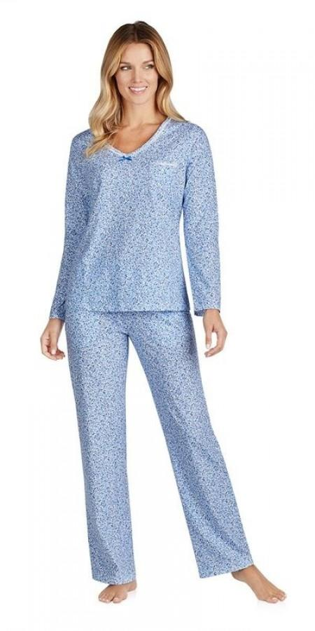 Heritage V-Neck Pj - Mixed Berry Floral Blue