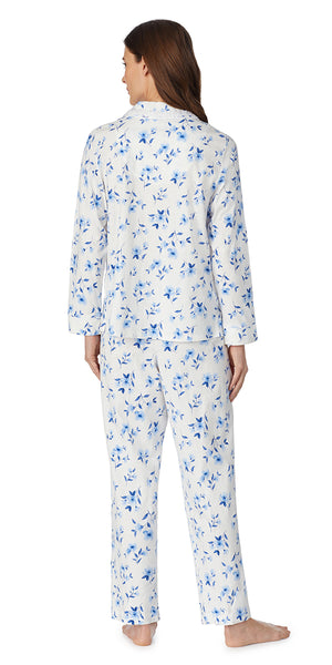 White & Blue Floral Soft Jersey Long Sleeve & Long Pant Pj