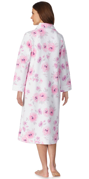 Romantic Blooms Long Quilted Zip Robe