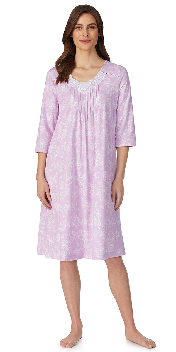 Lilac Toile 3/4 Sleeve Waltz Soft Jersey Nightgown