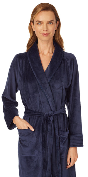 Deep Navy Velour Wrap Robe
